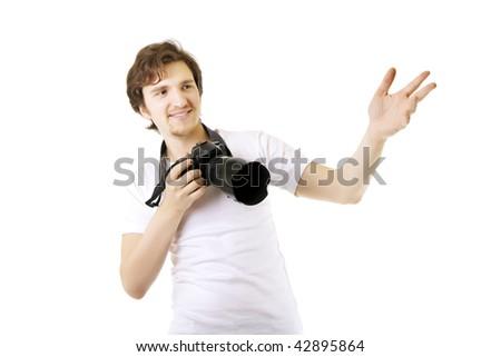 Image of a man photographer - stock photo