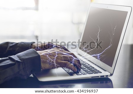 Image of a man who work on laptop - stock photo
