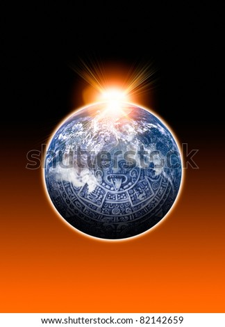 Image of a Mayan Calander and Earth with light flare. Conceptual image on the Mayan 2012 predictions - stock photo