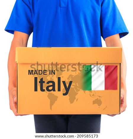 image of a messenger delivering holding a package with made in italy text - stock photo