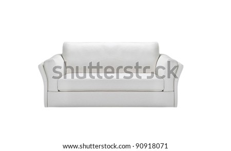 Image of a modern white leather sofa isolated - stock photo