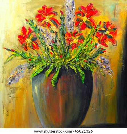 Image of a Original Oil Painting on Canvas - stock photo