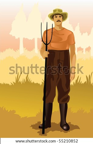 Image of a peasant who is working on his farm. - stock photo
