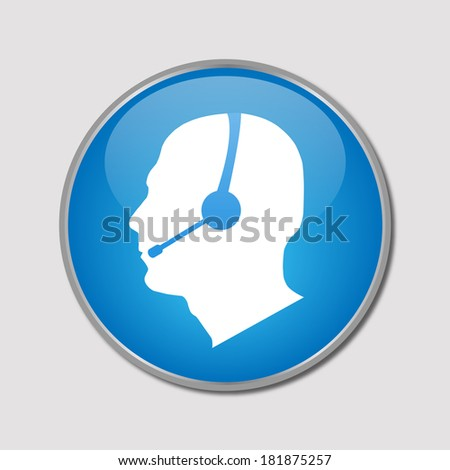 Image of a phone support button isolated on a white background. - stock photo