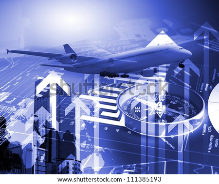 Image of a plane against business background - stock photo
