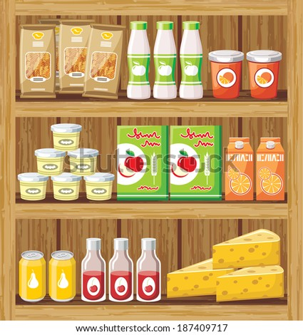 Image of a rack of wood with the products in the store. Raster illustration.  - stock photo