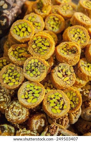 Image of a selection of delicious turkish baklava rolls.  - stock photo