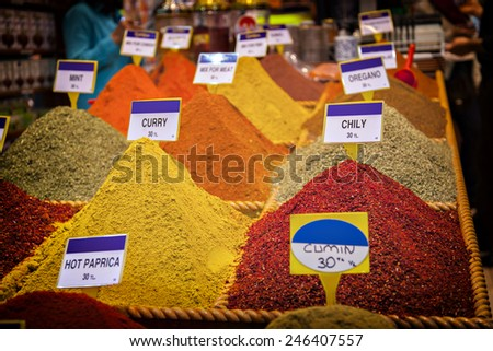 Image of a selection of spices sold at a turkish bazaar. - stock photo