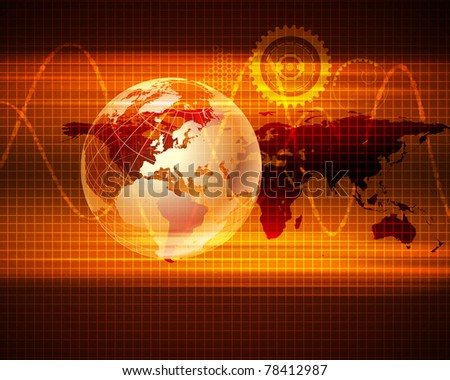 Image of a social network. Map of the world - stock photo