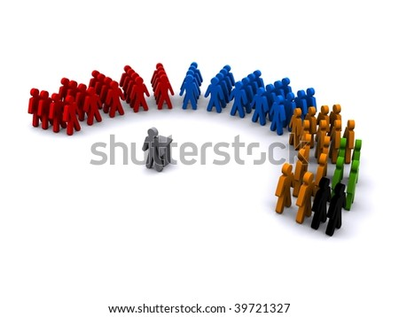Image of a speaker addressing political groups - stock photo