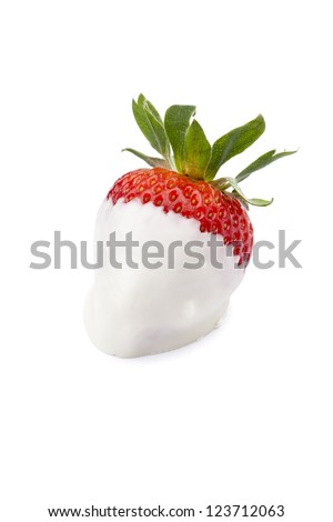 Image of a strawberry coated with white chocolate isolated on - stock photo