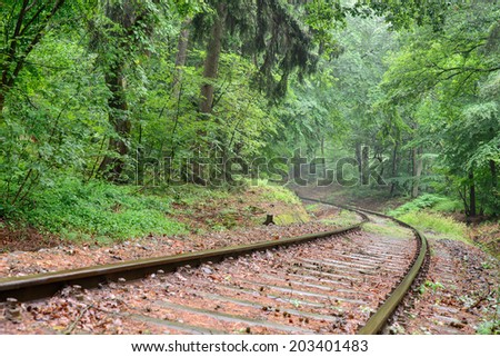 Image of a sweeping curve in a railway track leading into the unknown through a forest - stock photo