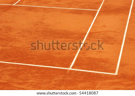 Image of a tennis base in clay. - stock photo