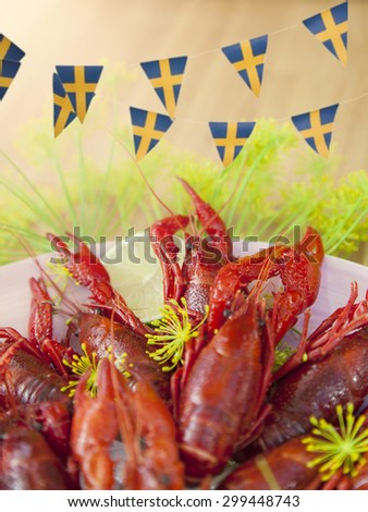 Image of a traditional swedish crayfish party.  - stock photo
