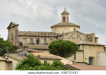 Image of a typical church in Italy, Umbria - stock photo