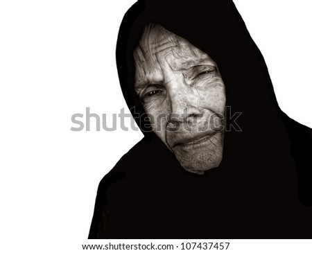Image of a very sad Russian Peasant woman - stock photo