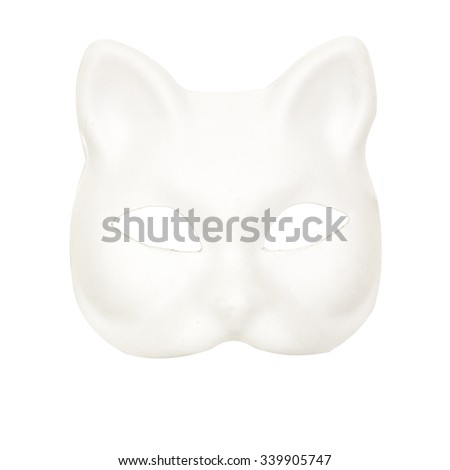 Image of a white cat mask.  - stock photo