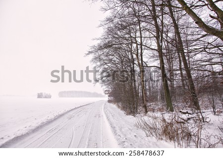 Image of a winter landscape covered in snow. - stock photo