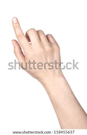 image of a woman's finger pointing  or touching isolated on a white background - stock photo