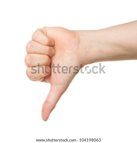 Image of a womans hand showing thumb down in isolation - stock photo