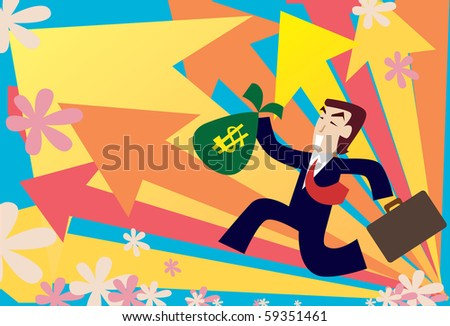 Image of a young businessman who is making his way to the top - stock photo