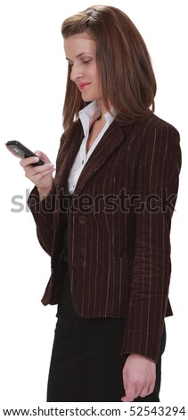 Image of a young woman checking her mobile phone,isolated against a white background. - stock photo