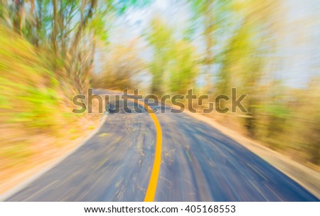 Image of Abstract  blur road with motion  on day time for background usage . - stock photo