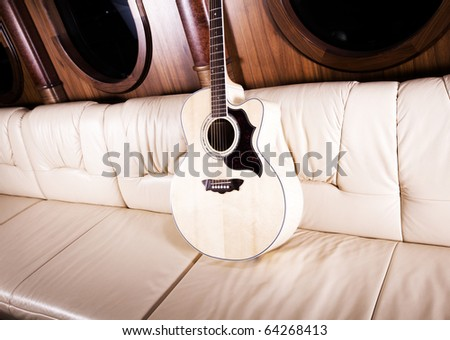Image of acoustic guitar. - stock photo