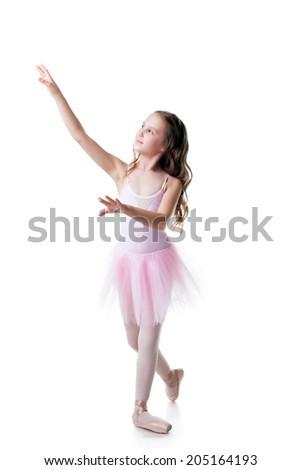 Image of adorable little ballerina dancing - stock photo