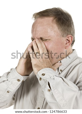 Image of aged man having sinus against white background - stock photo