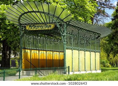 Image of an ancient Parisian underground entrance - stock photo