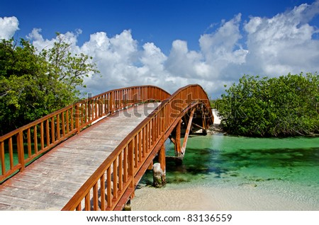 Image of an arched wooden bridge spanning over a small natural river flowing into the ocean - stock photo
