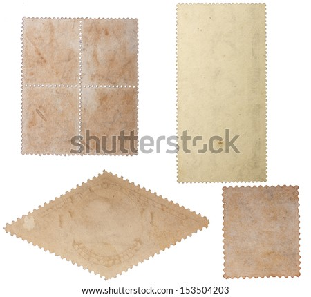 Image of an old blank stamp many forms isolated against a white background. - stock photo