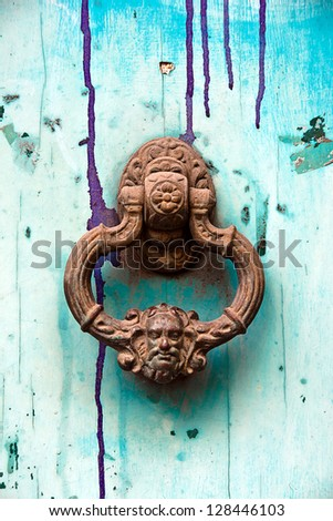 image of ancient door knocker - stock photo