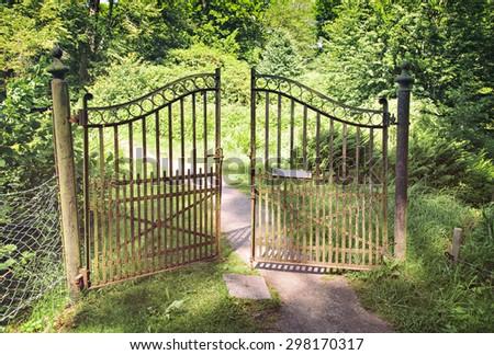 Image of antique wrought iron gate.  - stock photo