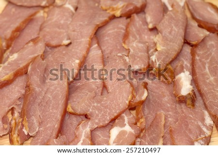 Image of appetizing bacon slices, close-up - stock photo