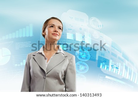 Image of attractive businesswoman against hightech background - stock photo