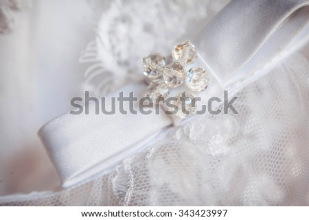 Image of back of bride in wedding dress - stock photo