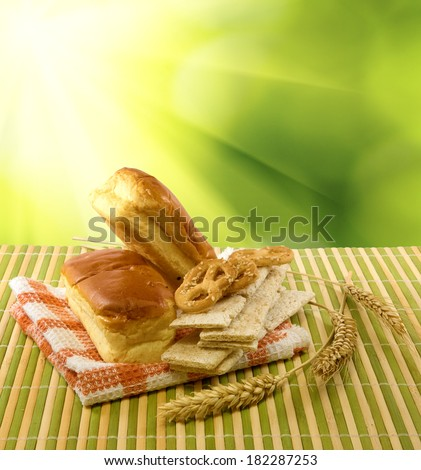 image of bakery on a green background - stock photo