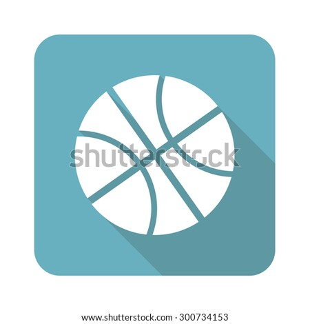 Image of basketball ball in blue square, isolated on white - stock photo