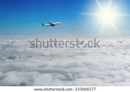 Image of beautiful blue sunny sky with clouds - stock photo
