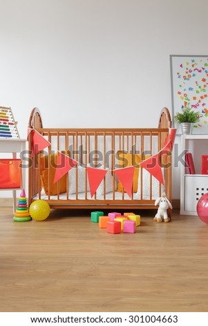 Image of beautiful light room for newborn child - stock photo