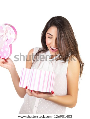 Image of beautiful young lady opened giftbox, cute brunette female excited of gift, beautiful woman holding in hands present and isolated on white background, Valentine day, romantic holiday - stock photo