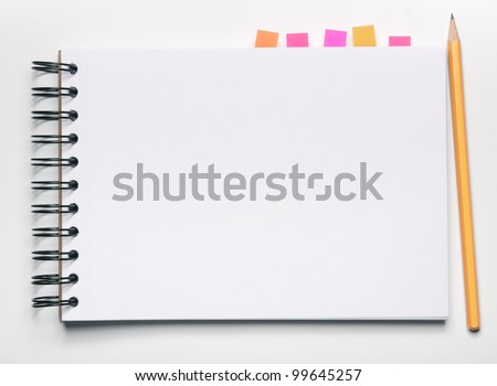 Image of blank notebook with bookmarks and pencil - stock photo