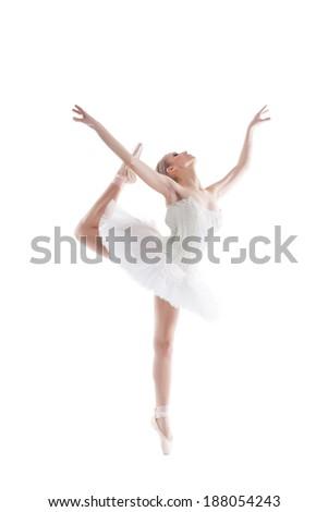 Image of blonde ballerina dancing gracefully - stock photo
