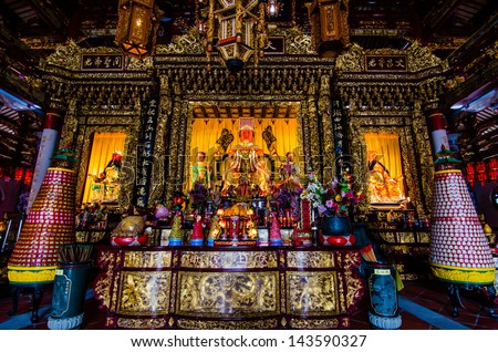 Image of Buddha, A-ma temple, Chinese Temple, Macau. - stock photo