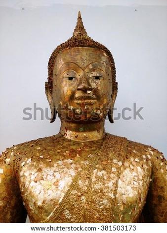 Image of Buddha in the Buddhist Temple, Wat Saman Rattanaram Temple, Chachoengsao, Thailand - stock photo