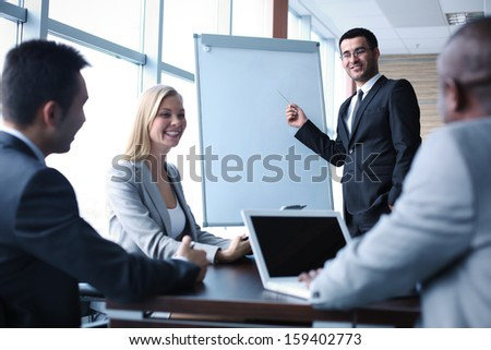 Image of business people interacting at seminar - stock photo