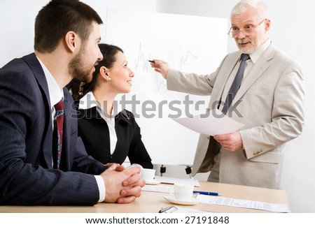 Image of business people listening their boss at seminar - stock photo