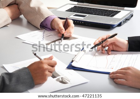 Image of business people?s hands during teamwork - stock photo